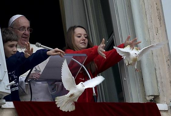 2014年 1月天主教教宗方濟放飛兩隻白鴿,作為和平象徵。