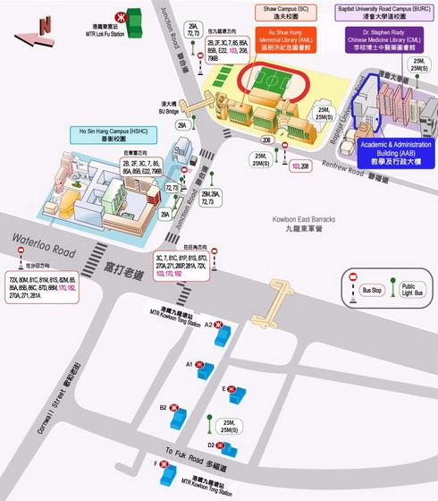 香港浸會大學曾陳式如會堂 (AAB201) 地圖